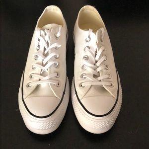 Platform white converse sneakers